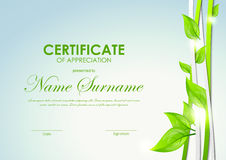 Certificate of appreciation template. With green and gray dynamic interweaving lines and leaves. Vector illustration royalty free illustration