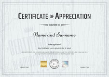 Certificate of appreciation template with grey wooden background Stock Photography