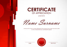 Certificate of appreciation template Royalty Free Stock Images