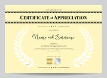 Certificate of appreciation template with movie film stripe head Stock Images