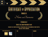 Certificate of appreciation template in movie film theme Royalty Free Stock Photo