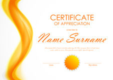 Certificate of appreciation template. With orange bright soft wavy background and seal. Vector illustration vector illustration