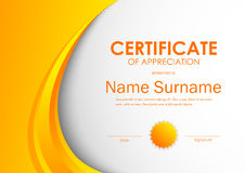 Certificate of appreciation template. With orange light dynamic wavy background and seal. Vector illustration royalty free illustration