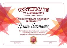 Certificate of Appreciation Template. Vector illustration Stock Photo