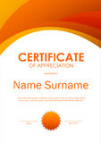 Certificate of appreciation template. With wavy dynamic light background and seal. Vector illustration royalty free illustration