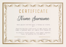 Certificate of appreciation vector template with guilloche border. Stock Photography