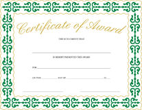 Certificate of Award Royalty Free Stock Photography