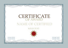 Certificate Of Award Blue royalty free stock image