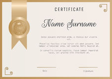 Certificate award template vector blank in gold colors. Stock Images