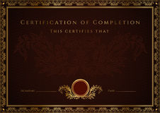 Certificate / Diploma award template. Pattern vector illustration