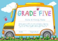 Certificate with background of schoolbus in the park Royalty Free Stock Images