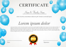 Certificate with balloons template vector Royalty Free Stock Image