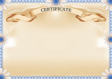 Certificate. Beautiful Certificate with blue border - landscape format Stock Images