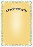 Certificate. Beautiful yellow Certificate with blue border - portrait format Royalty Free Stock Photography