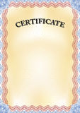 Certificate. Beautiful yellow Certificate with blue border - portrait format Royalty Free Stock Photos