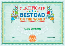 Worlds best dad award certificate template stock vector certificate stock photos yadclub Gallery