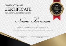 Certificate Black and gold horizontal vector illustration