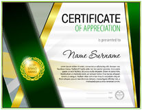 Certificate blank template. With simple polygonal design elements with gold plated effects Stock Photo