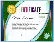 Certificate blank template. With simple polygonal design elements with gold plated effects royalty free illustration