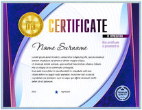 Certificate blank template. With simple polygonal design elements with gold plated effects Royalty Free Stock Photo