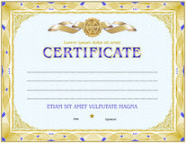 Certificate blank template. With simple polygonal design elements with gold plated effects Royalty Free Stock Photography