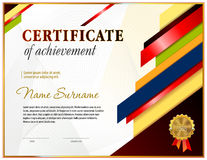 Certificate blank template. Certificate blank tenplate with hard vintage frame border, ribbons and floral elements Stock Image