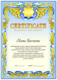 Certificate blank tenplate. With hard vintage frame border, ribbons and floral elements Stock Photos