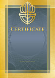 Certificate blue/gold Stock Images