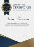Certificate Blue and white vertical. vector illustration