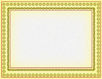 Certificate border. The certificate green colours border   generated by illustration on yellow colour background Royalty Free Stock Photography