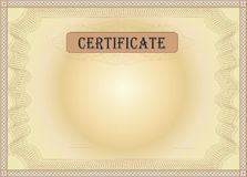 Certificate brown. Security card template Stock Photography