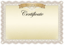 Certificate brown. Beautiful certificate, graduate, diploma, vintage. The  version of the document be scaled to any size without loss of quality Royalty Free Stock Photos