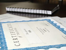 Certificate and other documents Stock Images