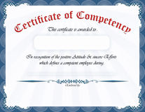 Certificate of competency. Elegant Blue frame, horizontal certificate / award. Formal English writing with space for Employee name and endorsement signatures Royalty Free Stock Photo