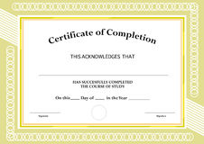 Certificate of Completion. Classic Frame and Visual  Design. Editable Clip Art. Stock Photography