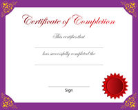 Certificate of completion Stock Photos