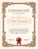 Certificate of Completion Portrait with Floral Ornament Vintage Frame Royalty Free Stock Image