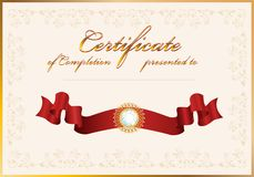 Certificate of completion.Template. Royalty Free Stock Photo
