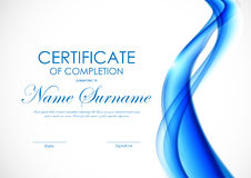 Certificate of completion template. With blue wavy interweaving bright soft background. Vector illustration royalty free illustration