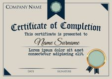 Certificate of Completion Template. Vector illustration Stock Image