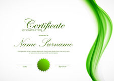 Certificate of completion template. With dynamic green wavy smoky soft smooth background and seal. Vector illustration stock illustration