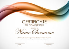 Certificate of completion template. With dynamic light colorful soft wavy background. Vector illustration stock illustration