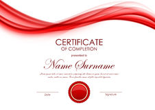 Certificate of completion template. With dynamic red wavy soft light background and seal. Vector illustration vector illustration