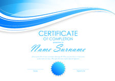 Certificate of completion template. With light dynamic blue wavy curved background and seal. Vector illustration stock illustration