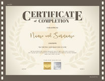 Certificate of completion template in movie theme Royalty Free Stock Images