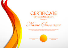 Certificate of completion template. With orange digital bent wavy background and seal. Vector illustration royalty free illustration