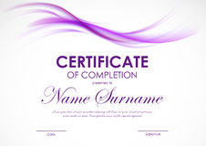 Certificate of completion template. With purple transparent wavy smoky soft background. Vector illustration Royalty Free Stock Image