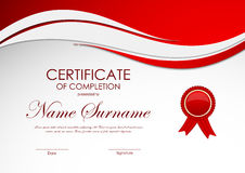 Certificate of completion template. With red wavy dynamic background and label. Vector illustration vector illustration