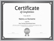 Certificate of completion template in vector Royalty Free Stock Images