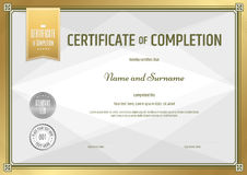Certificate of completion template in vector Stock Photo